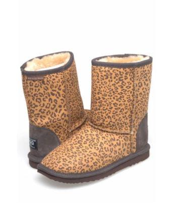 Short Leopard print Ugg Boots - Australian Leather - Australian Made Ugg Boots