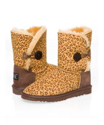 Single Button Leopard print Ugg Boots Australian Made
