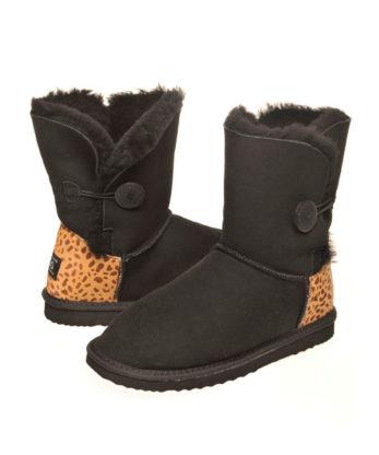 Single Button Leopard print heel Ugg Boots Australian made australian sheepskins