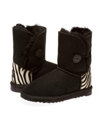 Single Button Zebra heel print Ugg Boots