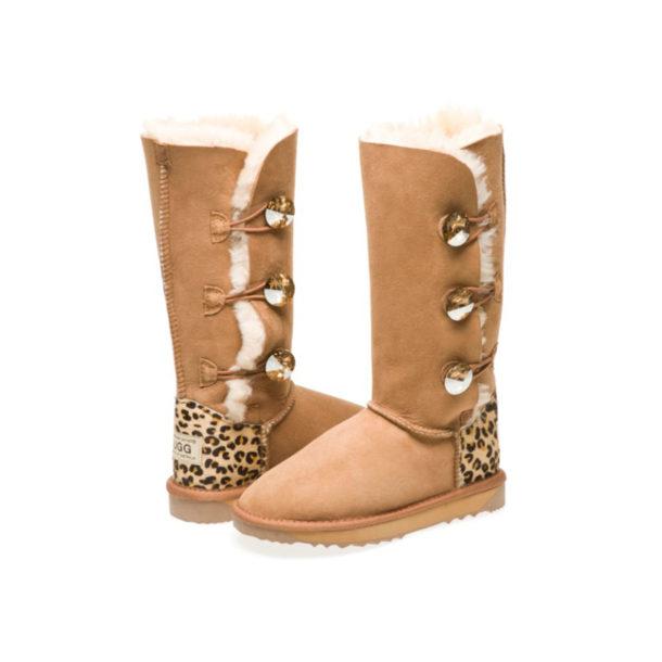 3 Button Cheetah print heel made with Golden Shadow Swarovski Elements UGG Boots
