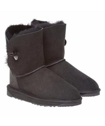 Single Button Ugg Boots made with Jet Swarovski Crystal Fabric Heel