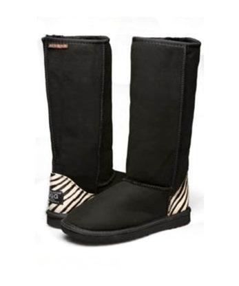 Classic Long Zebra Print Ugg Boots Zebra print Leather patch Australian Made ugg boots