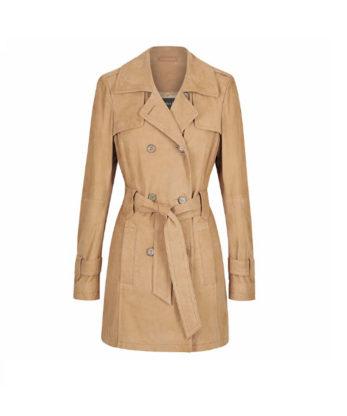 Georgina Ladies Suede Leather Trench Coat Genuine suede Leather Trench coat sale