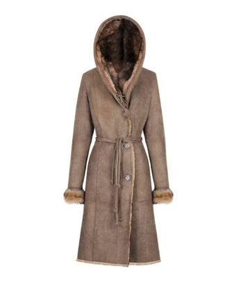 Nimbia Ladies Long Tench Coat hooded sheepskin fur genuine lamb skin double face light as a feather long trnch coay