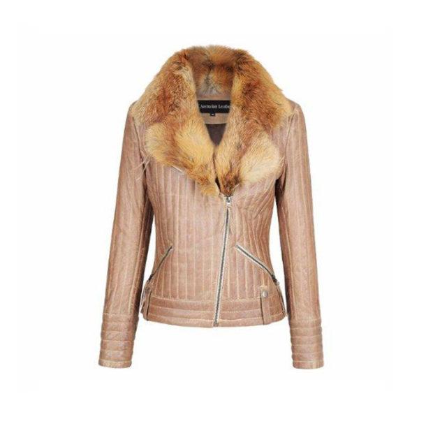 Roxy Foxy Ladiea Leather Jackets genuine fox fur collar super soft leather jacket sale