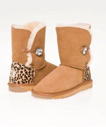 Single Button Ugg Boots Cheetah print heel made with Swarovski Elements Fashion Ugg Boots Australian made