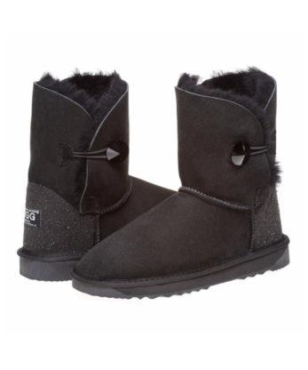 Single Button Ugg Boots made with Jet Swarovski Crystal Fabric Heel Australian Made crstal Button crystal heel Fashion Footwear Ugg Boots