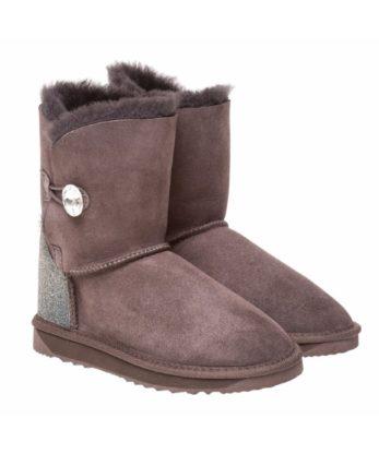 Single Button Ugg Boots made with Swarovski Crystal Fabric Heel