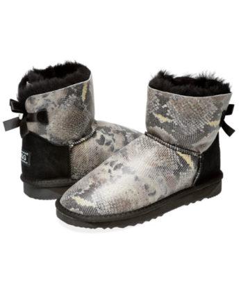 Ultra Short Snake print Back Bows Ugg Boots made with Swarovski elements Satin Ribbons Genuine sheepskins Australian Made Ugg Boots
