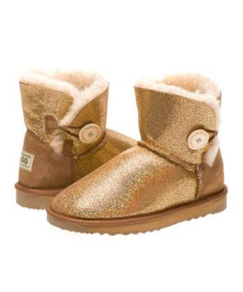 Ultra Short Single Button Shimmer Ugg Boots napa sheepskins made in Australia fashion boots
