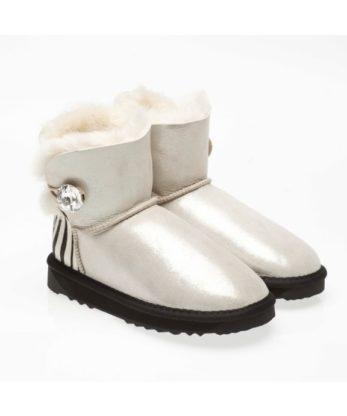 Ultra Short Single Button Ugg Boots Shimmer Zebra print heel made with Swarovski elements