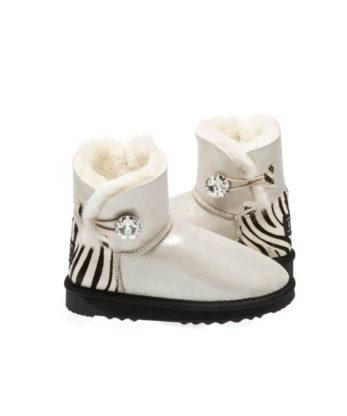 Ultra Short Single Button Ugg Bbots Shimmer Zebra print heel made with Swarovski elements fashion uggs comfort australian made uggboots