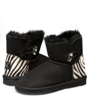 Ultra Short Single Button Ugg Boots Zebra heel print made with Chessboard Swarovski Elements Australian Made UGG Boots