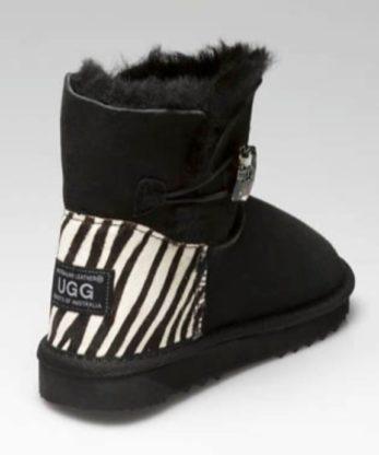 Ultra Short Single Button Ugg Boots Zebra heel print made with Chessboard Swarovski Elements