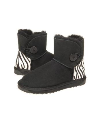 Ultra Short Single Button Zebra print heel Ugg Boots Australian Made button boots fashion boots