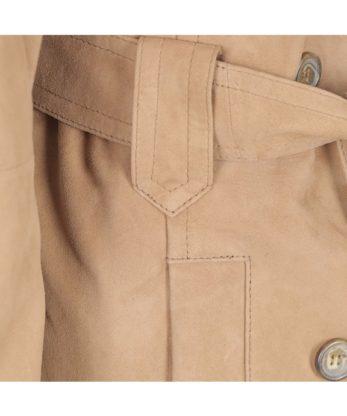 Georgina Ladies Suede Leather Trench Coat