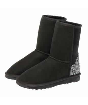 Swarovski Crystal Rock Heel Ugg Boots made with Jet and Cal Swarovski elements