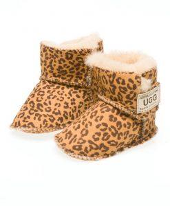 Baby-Booties-Leopard-Print-Velcro-Australian-Made-UGG-Boots- 2