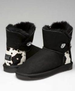 Ultra-Short-Single-Button-Cow-Print-Heel-Swarovski-Eelement-Australian-Made-UGG-Boots- 5